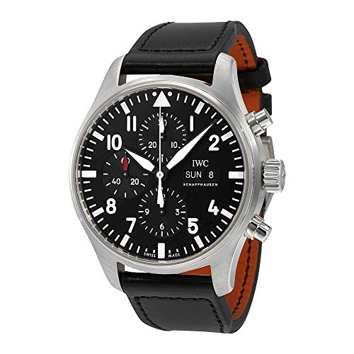 51 2nLl5+jL - IWC Herren-Armbanduhr 43mm Armband Leder Schwarz Gehäuse Edelstahl Synthetisches Saphir Automatik IW377709